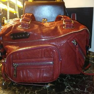L.A.M.B. red genuine leather satchel